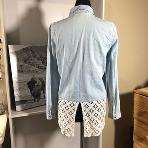 Tops - Denim button up with lace tail detail
